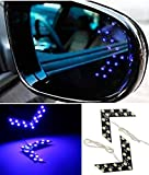 CHAMPLED® 2x 14 SMD LED Arrow Panel Car Side Mirror Turn Signal Indicator Lights Bulbs Brilliant Blue For HONDA INFINITI KIA HYNDAI DACIA DAEWOO