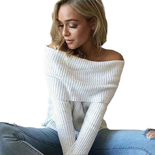 Fheaven Women Sleeveless Short Top Tight Sweater Knitting Casual Strapless T-shirtr (L, White)