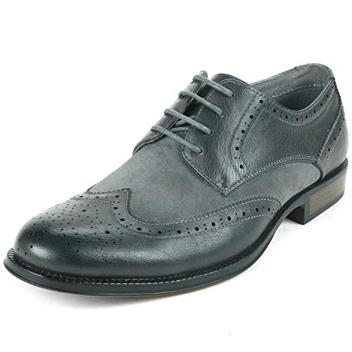 Alpine Swiss Men'S Gray Zurich Two Tone Brogue Wing Tips 9 M Us