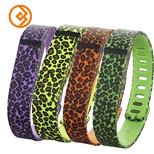 Bandcase New Style Lepoad Set Size Large L or Size Small S Multicolor Leopard Combinational Replacement Bands with Metal Clasps for Fitbit Flex Only No Tracker/ Wireless Activity Bracelet Sport Wristband Fit Bit Flex Bracelet Sport Arm Band Armband (Peach&Green&Yellow&Purple, Large)
