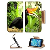 Rufous Hornbill Philippine Hornbill Bird Samsung Galaxy S4 Flip Cover Case with Card Holder Customized Made to... by Luxlady Galaxy S4 Leather Flip Case