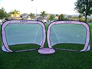 Buy Two 5'W X 3.5'H x 4'D PINK Foldable Pass Soccer Goals, Portable W carry Case, Net Pair, 5 x 3 1 2, 5x3 by Pass