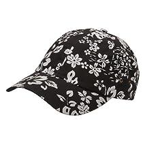 Hawaiian Flower Print Cap #3-Black