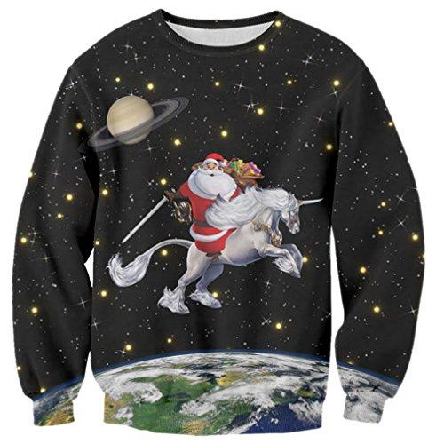 raisevern-funny-santa-ride-unicorn-design-round-neck-sweatshirt-multi-xl