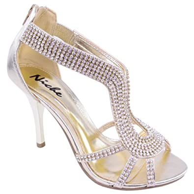 LADIES WOMENS PARTY PROM BRIDAL EVENING FASHION HIGH HEELS SHOES SANDALS SIZE (UK 3 / EU 36 / US 5, Gold Metallic)