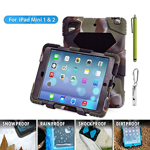 ipad mini case Aceguarder Silicone Plastic **New** Kidproof Extreme Duty Dual Protective Back Cover Case with Kickstand for Apple Ipad Mini & Ipad Mini with Retina Display - (Gifts Outdoor Carabiner + Whistle + Handwritten Touch Pen) Rainproof Sandproof