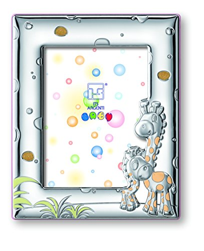 Silver Touch USA Sterling Silver Giraffe Picture Frame, Pink - 1