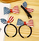 Blingys Jewelry American Flag Bow Style Hair Clips/Hair Band/Hairpins/Barrette (4 Piece Combo Set) With Blingys Bag