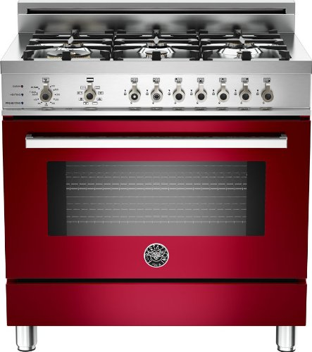 Pro366Dfsvi | Bertazzoni Professional 36 Dual Fuel Range, 6 Burners, Natural Gas - Vino