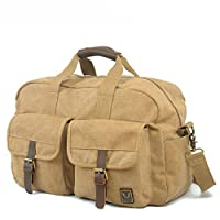 Aibag Oversized Leather Canvas Casual Travel Tote Luggage Satchel Hobo Duffel Bag