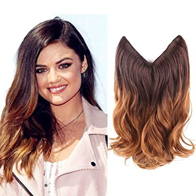 "Creamily 14"" Wavy Curly Brown to Caramel Blonde Ombre Dip Dye Synthetic Hair Extension Secret Miracle Heat Resistance Hair Wire Hairpieces No Clip for Women"