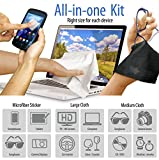 6-pack Microfiber Cleaning Cloth + Microfibre Sticker. Best Cleaner for iPhones, Tablets, Glasses, Lenses, Laptops, LCD TVs, Computer & more. 1 Large & 5 Medium + Vinyl Pouches by Clean Screen Wizard