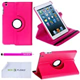 360 Degrees Rotating PU Stand Stylish Case for new iPad mini with 1 Stylus / 1 ECO-FUSED® Microfiber Cleaning Cloth Included (Hot Pink)