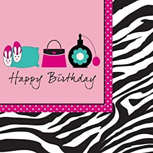Creative Converting Pink Zebra Boutique Happy Birthday Lunch Napkins, 16 Count