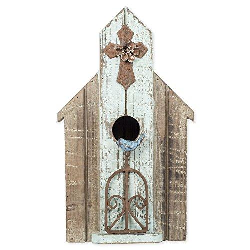 Distressed Bluebird Metal Cross 14 inch Wood Garden Bird House (Handmade Bird Houses compare prices)