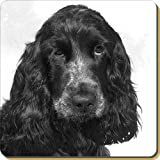 Blue Roan Cocker Spaniels Leather Coaster Christmas Gift, Ref:AD-SC25SC