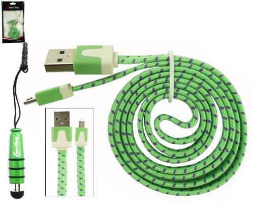 Emartbuy Intrecciato Piattina Duo Pacchetto Per ARK Benefit A1 / ARK Benefit A3 / ARK Benefit S451 Smartphone - Verde Mini Metallico Stilo + Intrecciato Verde / Viola Piattina Cavo Dati e Ricarica Micro USB Anti Groviglio
