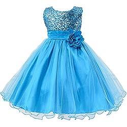 YipGrace Ragazze Fiore Cintura Garza Tuta Puff Vestito Multicolore Azzurro 120