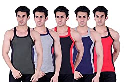 Zimfit Superb Gym Vests - Pack of 5 (GRN_GRY_BLK_BLU_RED_80)