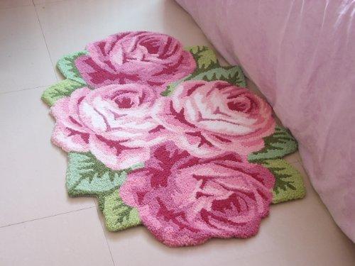 4 Rose Carpet Floor Mat Handmade Rug Anti-Slip Modern Carpet Kitchen Area Rugs,Rose Shaped Rugs