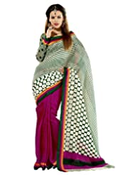 Prafful Silk Bhagalpuri Printed Saree With Unstitched Blouse - B00KNUE65M