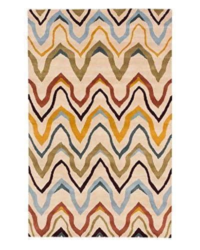 Handmade Zig Zag Wool Rug, Ivory, 5' x 8'