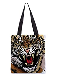 Snoogg Sketch Of Tiger Vector Illustration Designer Poly Canvas Tote Bag - B012FZE6BQ