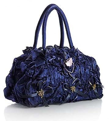 Big Handbag Shop Sac à main léger pour femme Fleur en tissu ruché à plusieurs niveaux