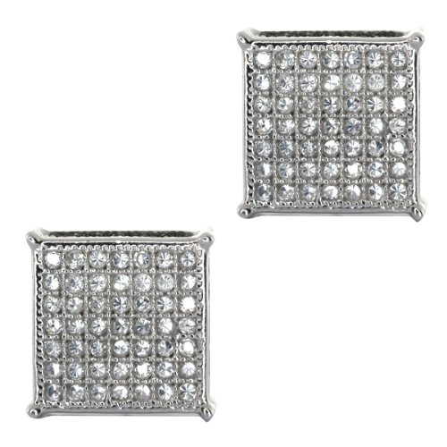 2.00 Ct Men's Sterling Silver Earrings White and Black Cubic Zirconia CZ 10mm