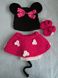 Photo Prop Baby Crochet Outfit Hat Shoes Diaper Cover Mouse 4pcs pink