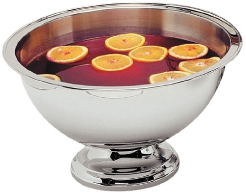 """Carlisle 609310 Stainless Steel Punch/Serving Bowl With Mirror-Polished Finish, 10 Qt. Capacity, 15-1/2"""" Dia. X 8.5"""" H"""