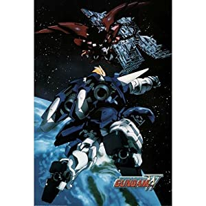 Mobile Suit Gundam Wing TV Poster Print - 24x36 custom fit with RichAndFramous Black 24 inch Poster Hangers