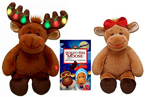 Build a Bear Hal and Holly Stuffed Plush Moose Set plus Uplifting Christmas Adventure Storybook Holiday Bundle (Build A Bear Bundle compare prices)
