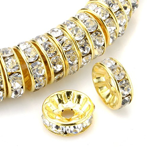 RUBYCA 100pcs High Quality Round Rondelle Spacer Bead Gold Tone 5mm White Clear Czech Crystal
