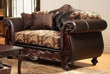 Bonaparte Love Seat In Floral Beige Espresso by Furniture of America