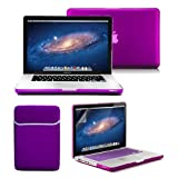 Macbook Pro 13 Case, GMYLE 4 in 1 Deep Purple Frosted Hard Case – Sleeve Bag and Keyboard Cover – Clear Screen Protector – (not fit for 13 Macbook Pro with Retina display)