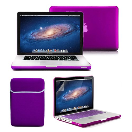 Best Review Of Macbook Pro 13 Case, GMYLE 4 in 1 Deep Purple Frosted Hard Case - Sleeve Bag and Keyb...