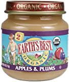 Earth's Best Organic 2nd Strained Apple & Plums, 4 Ounce Jars (Pack of 12)