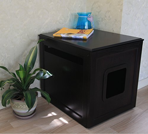 Petsfit 20x24x21 Inches Espresso Pet House Litter Box Enclosure Night Stand Painted With Non-Toxic