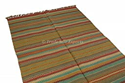 Indian Kilim Rug, Handwoven Oriental Kelim Carpet Runner, Ethnic Large Area Rug 4x6, Stripe Pattern Jute Boho Throw, Floor Mat (Pattern 6)