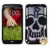 Hybrid Skull Design Case Hard Silicone Cover Case For LG Optimus G2 D802, Metal Plating Black