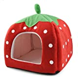 SODIAL(R) Soft Fresa Pet Igloo Cat Dog Cama Cojin Casa de la perrera perrito Basket Rojo - M