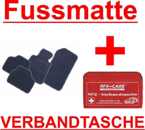 SCHNÄPPCHEN Passform Fussmatte ZERO graphit + KFZ-Verbandtasche Mercedes E-Klasse W211 / S211 Limousine / T-Modell Kombi Bj. 03/02 - 02/09 mit Mattenhalter vorne (Druckknopf)