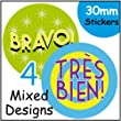 144 French Themed Reward Stickers