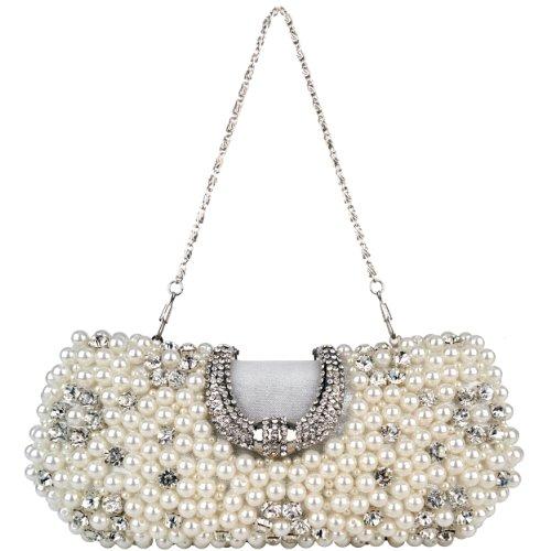 Silver Dazzling Pearl Beads Rhinestone Encrusted Closure Rectangle Hard Case Baguette Clutch Evening Bag Handbag Purse w/2 Chain Straps