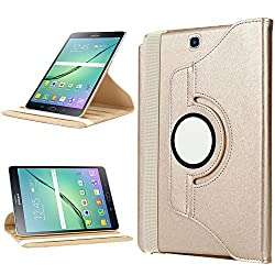 Samsung Galaxy Tab S2 9.7 Case,Dealgadgets 360 Degrees Slim Rotating Stand Leather Case Cover for Samsung Galaxy Tab S2 9.7-Inch Tablet (Gold)