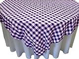 LA Linen Poly Checkered Square Tablecloth, 84 by 84-Inch, Purple/White