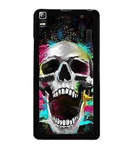 Printvisa Colourful Skull 2D Hard Polycarbonate Designer Back Case Cover For Lenovo K3 Note :: Lenovo A7000 Turbo