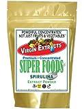 Virgin Extracts (TM) Pure Premium Raw Organic Spirulina Powder Super Greens Food Spirulina Extract Powder 4:1 Concentrate (4 X Stronger) 16oz - 1 lb Pouch Spirulina Powder Superfood