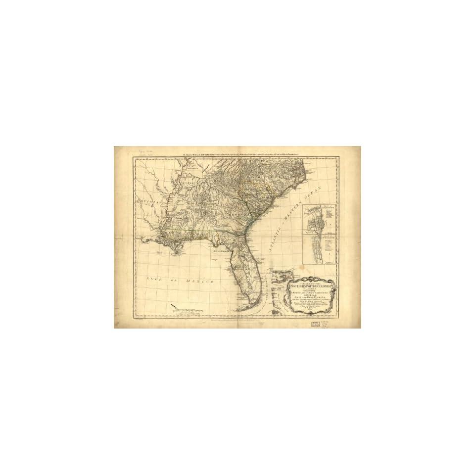 1776 map North South Carolina, Georgia, Florida